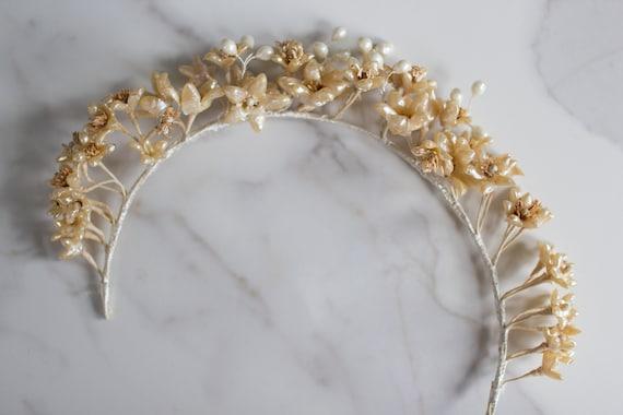 Antique wax flower crown / headpiece / tiara / 192