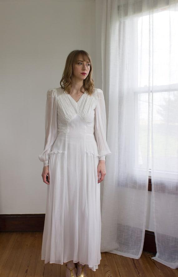 1930's chiffon bishop sleeve wedding gown / dress… - image 8