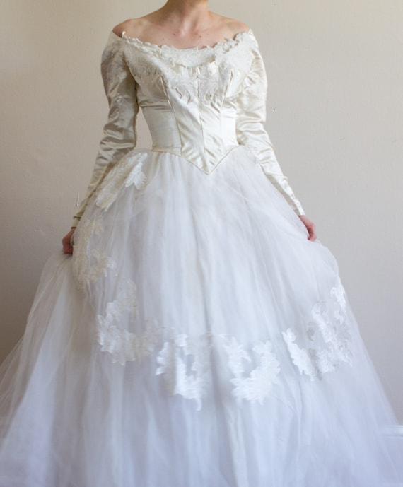 Vintage Wedding Dresses Boston: 1950's Priscilla Of Boston Wedding Gown / Silk / XS /