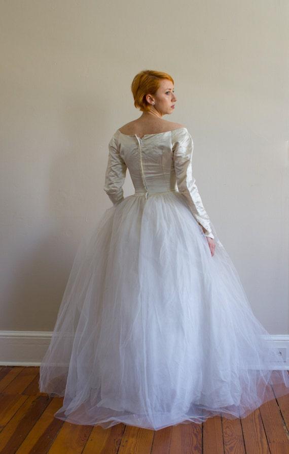 1950\'s Priscilla of Boston Wedding Gown / Silk / XS /   Etsy