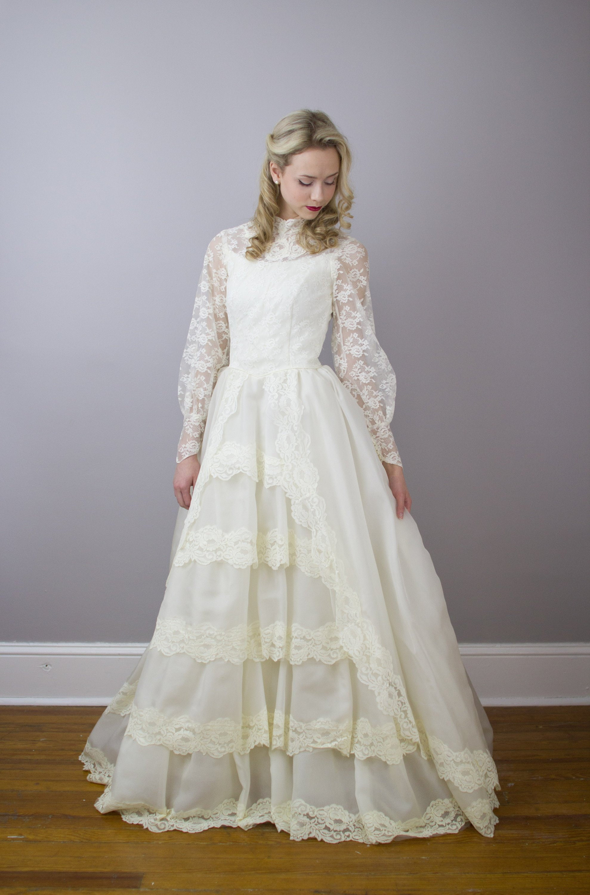 Vintage 20's princess style tiered wedding gown /   Etsy