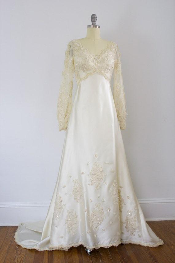 Priscilla of Boston wedding gown / 1970's / poet … - image 3
