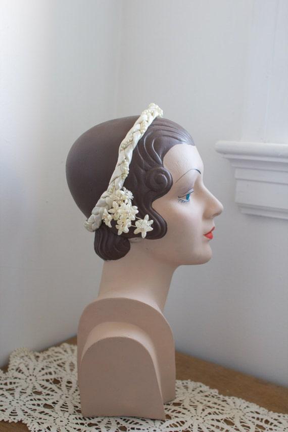 1920's Braided Wax Flower Headpiece / crown / tiar