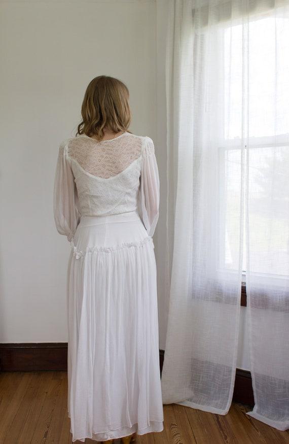 1930's chiffon bishop sleeve wedding gown / dress… - image 4