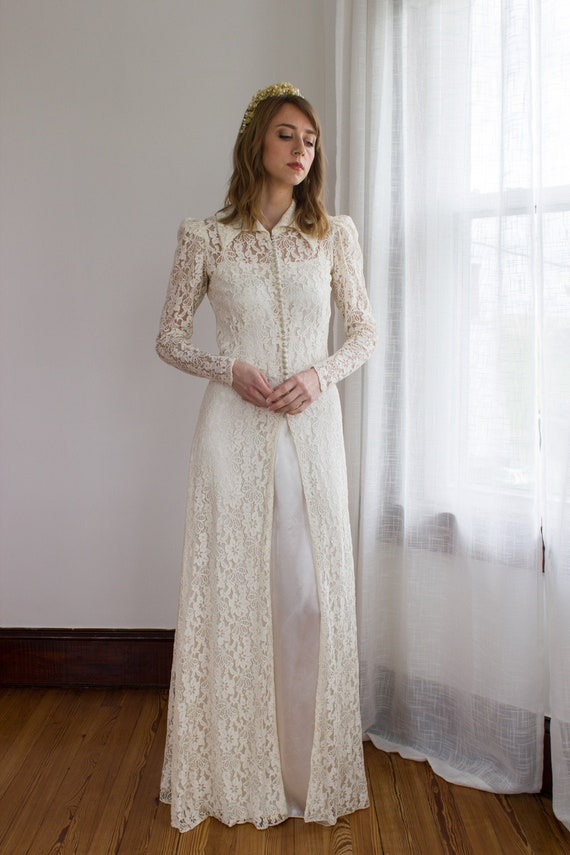 Early 1930's wedding dress / bridal jacket / satin
