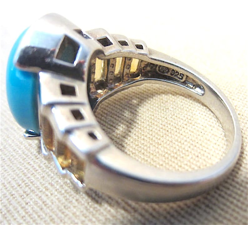 Bold Oval Turquoise /& Topaz Baguette Ladies Chunky Ring Southwestern Unique Bright Colors Vintage 80/'s Sterling Silver Unisex Modern
