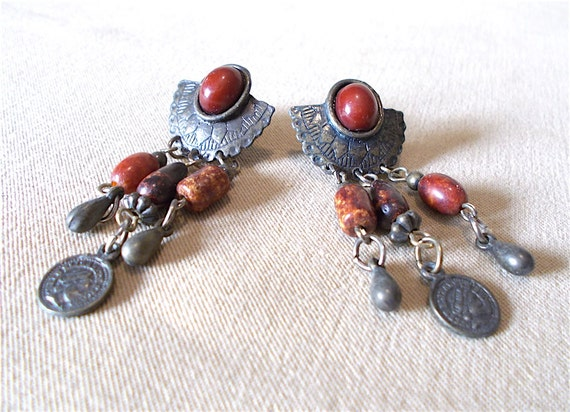 Vintage 80s Bronze Half Concho Rust Stones Mini Coin Post Earrings Bold Southwestern Native American Inspired Striking Ladies Gift Idea