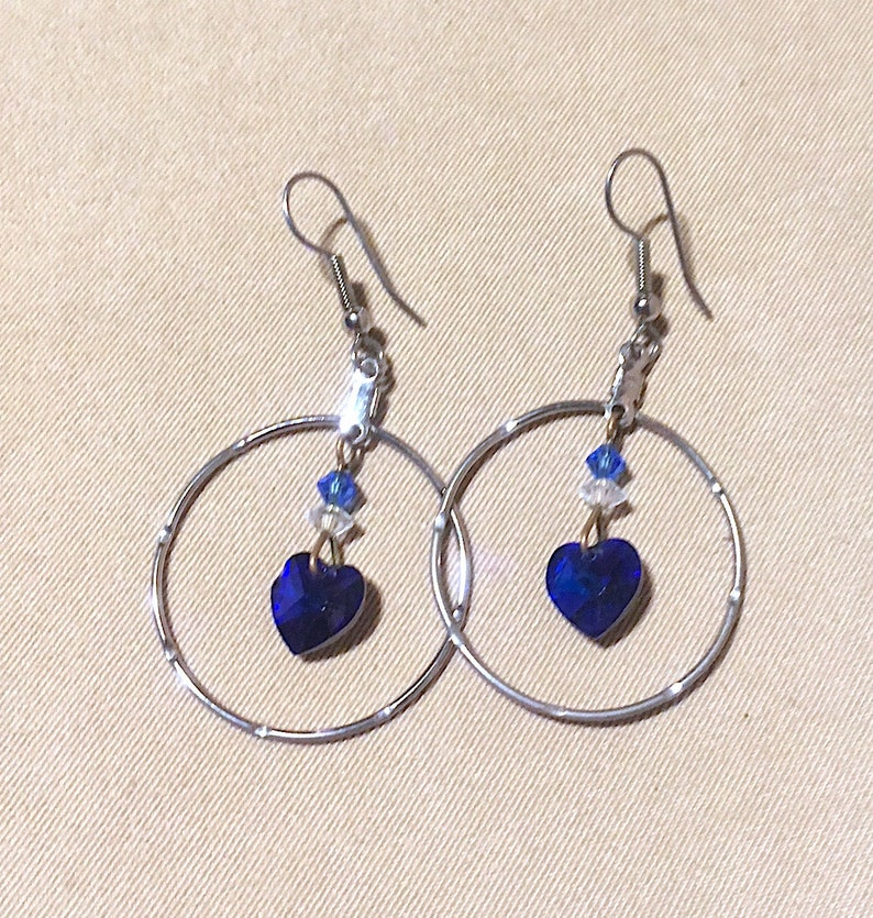Vintage Silver Hoops w Blue Crystal Hearts Vintage 1980 s  a9959fb7d4