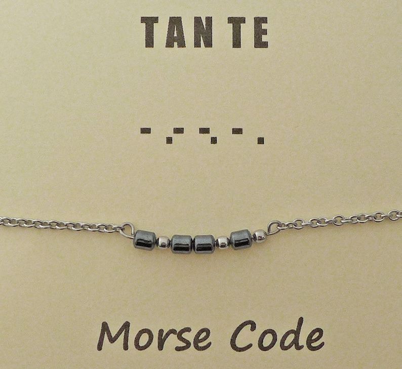 stainless steel beads stainless steel chain and finishing bracelet Morse code TANTE grey hematite bars aunt in Dutch and French