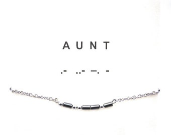Morse code AUNT SIMPLICITY bracelet, grey hematite bars, stainless steel beads, stainless steel chain and finishing, statement bracelet