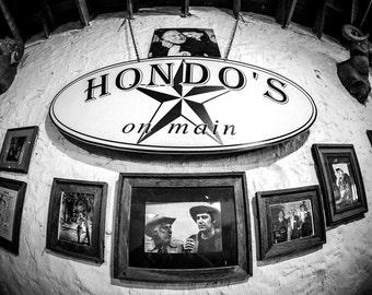 Hondo's on Main, Fredericksburg, Texas (Black & White Matte Print)