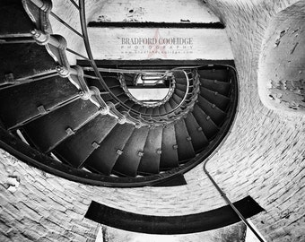 Cape Hatteras Lighthouse Staircase (Black & White Matte Print)