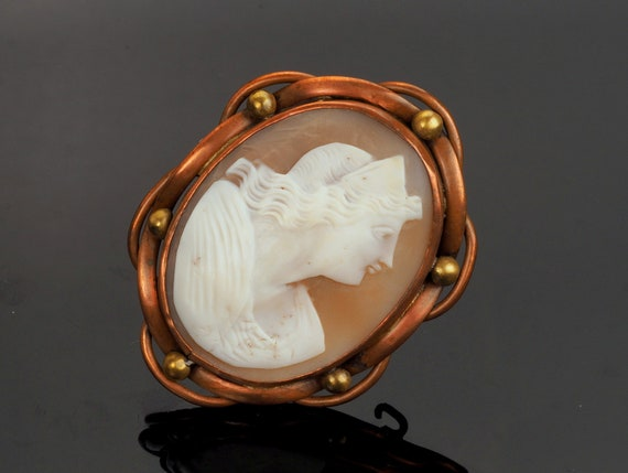 cameo pin VictorianEdwardian White pressed glass Cameo brooch set in copper and brass bezel Very old ladies bust Cameo brooch