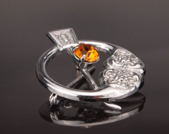 Brooch. Scottish Penannular Pin, Rhodium with Faux Citrine, Ward Brothers
