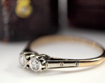 RESERVED FOR SIERRA 40s Twin Diamond Ring, Vintage Engagement Ring, 9K