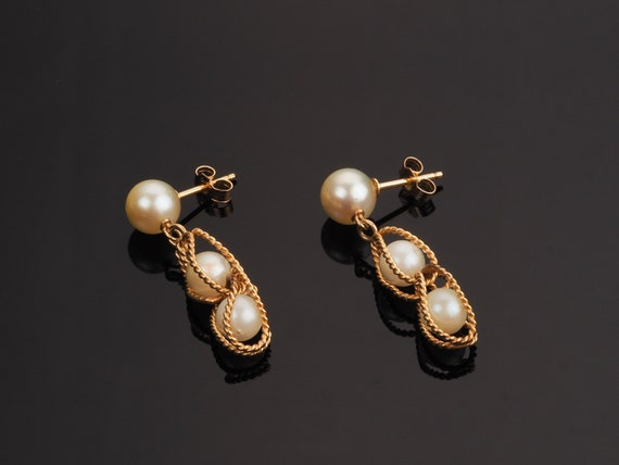 Gold earrings, pearl earrings, vintage earrings, d