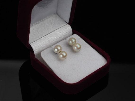 14k White gold pearl earrings, double pearl earrin