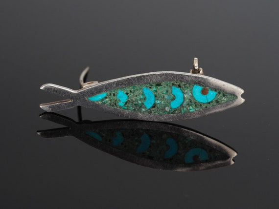 Vintage silver fish brooch, fish pin, Turquoise br