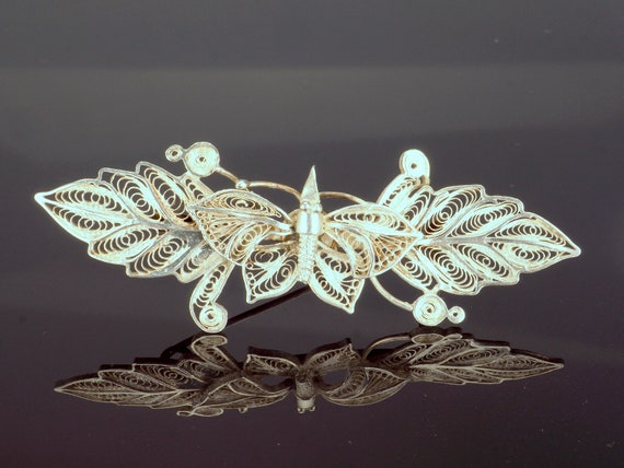 Butterfly Filigree Pin, Vintage Silver Brooch, Bug