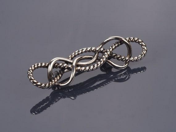 Silver knot brooch, vintage brooch, rope brooch, r