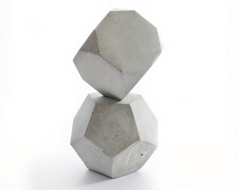 Geometric Concrete Decor Sculpture Set, paperweight, bookend, office or home decor, solid set com1