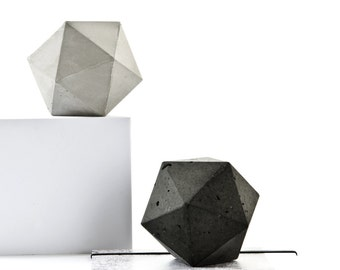 Concrete Icosahedron Sculpture, geometric paperweight, jewellery holder or bookend, minimal contemporary home decor, gift idea