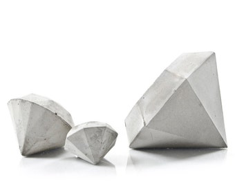 Set of Three Concrete Diamond Paperweights, cement diamond decor, concrete diamond gift set, handcrafted diamond beton sculptures, gift set