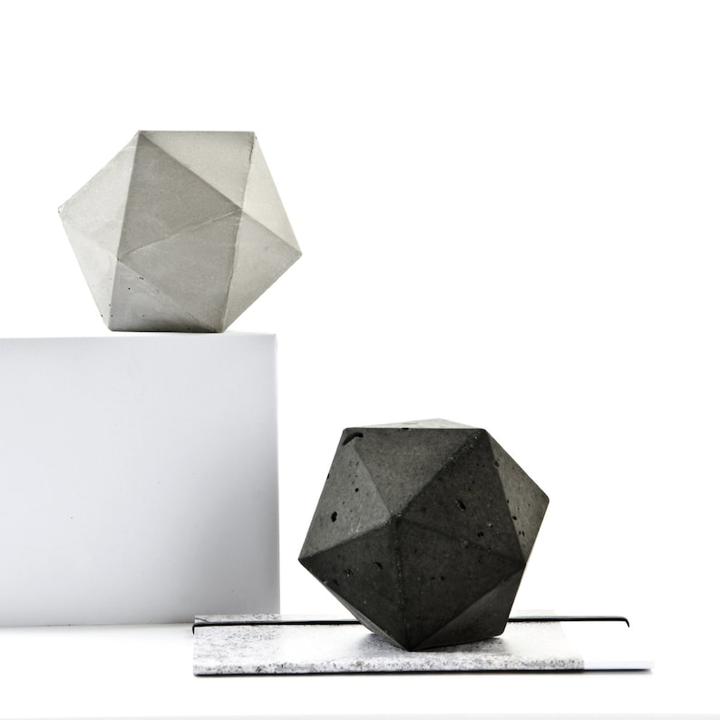 Concrete Icosahedron Sculpture geometric paperweight image 0