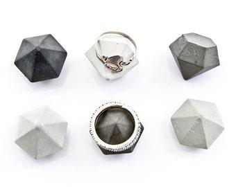 6 Cement Diamonds, black, grey or mix of six mini concrete diamonds, concrete diamond home decor, beton sculpture