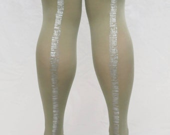 6d400ed0254f40 Hand Printed Tights | Sage Tights Silver Metallic Bookstack Print |  Pantyhose | Hosiery