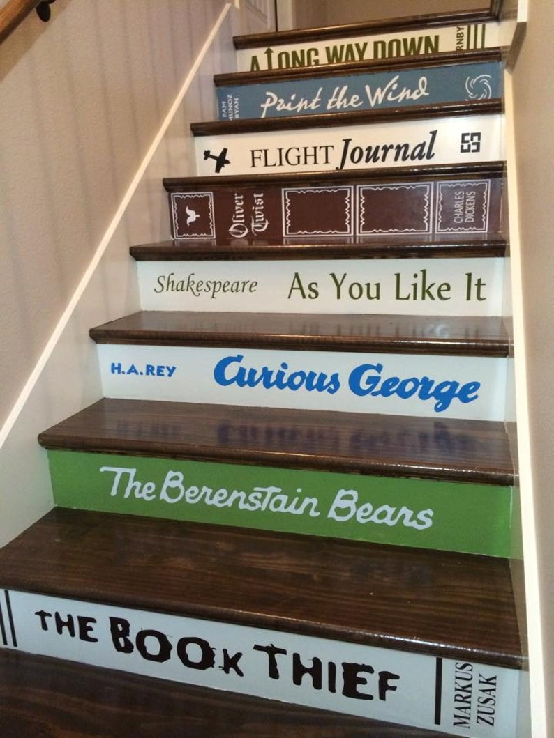 Custom Book Title Decals for stairs  the price is for EACH image 0
