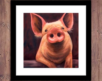 Pig Print from Original Oil Painting, Farm, Pig Art, Pig Painting, Farm Art, Farm Decor