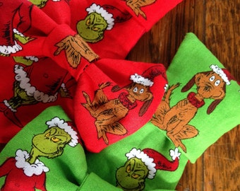 grinch max dr seuss christmas holiday necktie bow bow tie pet dog collar slide on removable handmade accessory multiple sizes made to order