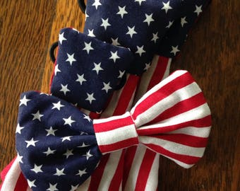 american flag patriotic fourth of july holiday necktie or bow bow tie pet dog collar slide on removable handmade accessory multiple sizes