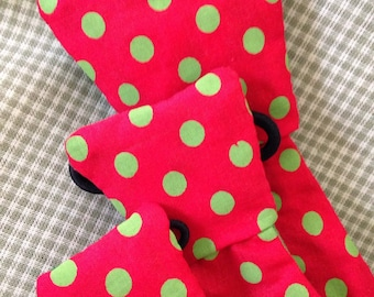 christmas holiday red polka dot necktie bow bowtie pet dog collar slide on removable handmade accessory multiple sizes made to order