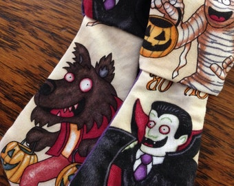 halloween monsters cute necktie or bow bow tie pet dog collar slide on removable handmade accessory multiple sizes made to order