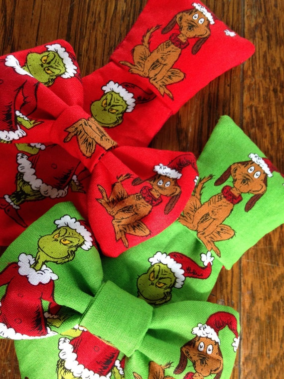 Dr Seuss Christmas.Grinch Max Dr Seuss Christmas Holiday Necktie Bow Bow Tie Pet Dog Collar Slide On Removable Handmade Accessory Multiple Sizes Made To Order