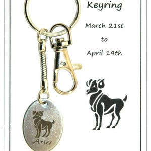 Z011 March 21-April 19 Aries Carded Keyring Gift Birthday Zodiac Star Sign