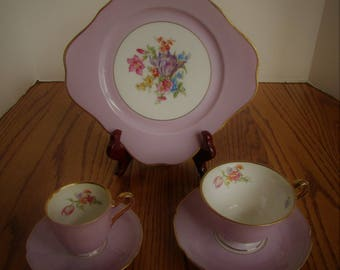 Bavaria Tirschenreuth Germany Purple Luncheon Set Plate Tea Cup & Expresso Saucer