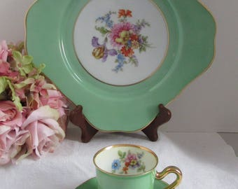 Bavaria Tirschenreuth Germany Green Luncheon Plate Expresso Cup & Saucer