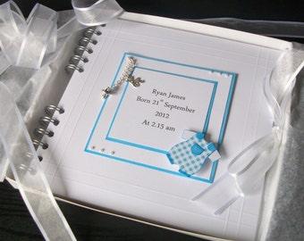 Personalised Baby Boy Photo Album With Interleaving,8 x 8 Pram Design Boxed