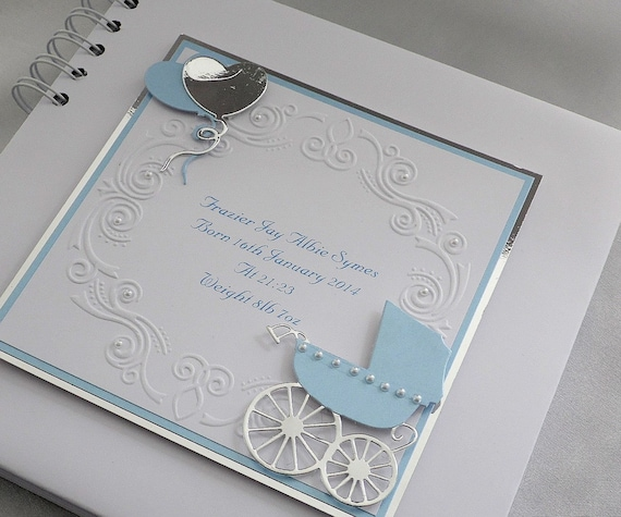Baby Boy Personalised Photo Album With Interleaving,A5 With Embossed Ducks,Boxed