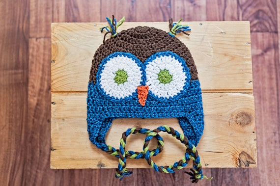 Birthday Gift Crochet Fall Colored Owl hats Beanie with Ear Flaps Photography Prop Boy or Girl