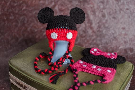Häkeln Sie Minnie Mouse Hut Mickey Mouse Hut Mütze Mit Ohrenklappen Fotografie Prop Geburtstagsgeschenk Junge Oder Mädchen