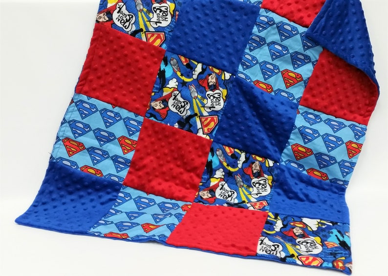 Flannel and Dimple Minky Patchwork Baby Girl Blue and Red  Patchwork Baby Boy Superman Inspired Patchwork Baby Blanket in Cotton