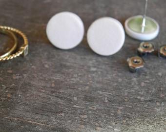 Porcelain Stud Earrings, Handmade Matt White Ceramic Circle, Crackle White Off Color Post Earrings, Round Everyday Jewelry