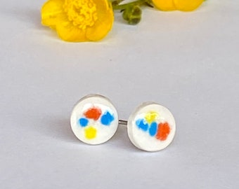 Happy Dots Porcelain Earrings, White Circle with Orange, Yellow, Blue Crystals, Small Porcelain Studs, Light Weight Pottery Posts