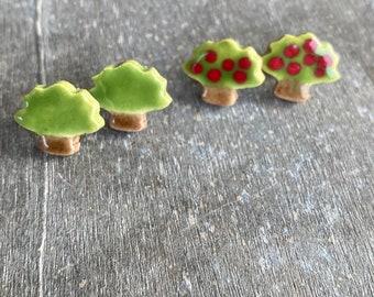 Tree Porcelain Stud Earrings, Handmade Ceramic Jewelry, Apple Tree Post Earrings