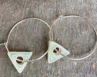 Green Tea Triangle on Hoop Earrings, Geometric Porcelain Green Earrings Hoop, Minimalist Ceramic Jewelry
