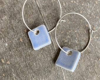 Square Blue Hoop Earrings, Geometric Porcelain Pastel Blue Earrings Hoop, Minimalist Ceramic Jewelry